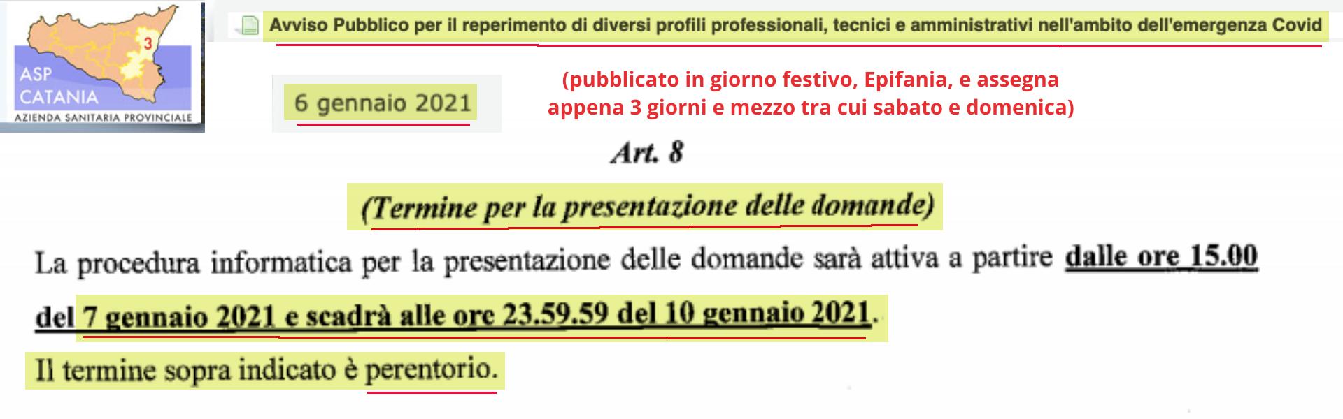 Asp Catania PUBBLICA super selezione REGIONALE di personale...con appena 3 giorni di tempo festivi...PERENTORIO