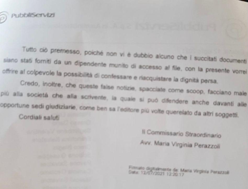 Pubbliservizi: sindacato Sifus Confali chiede le dimissioni del commissario Perazzoli
