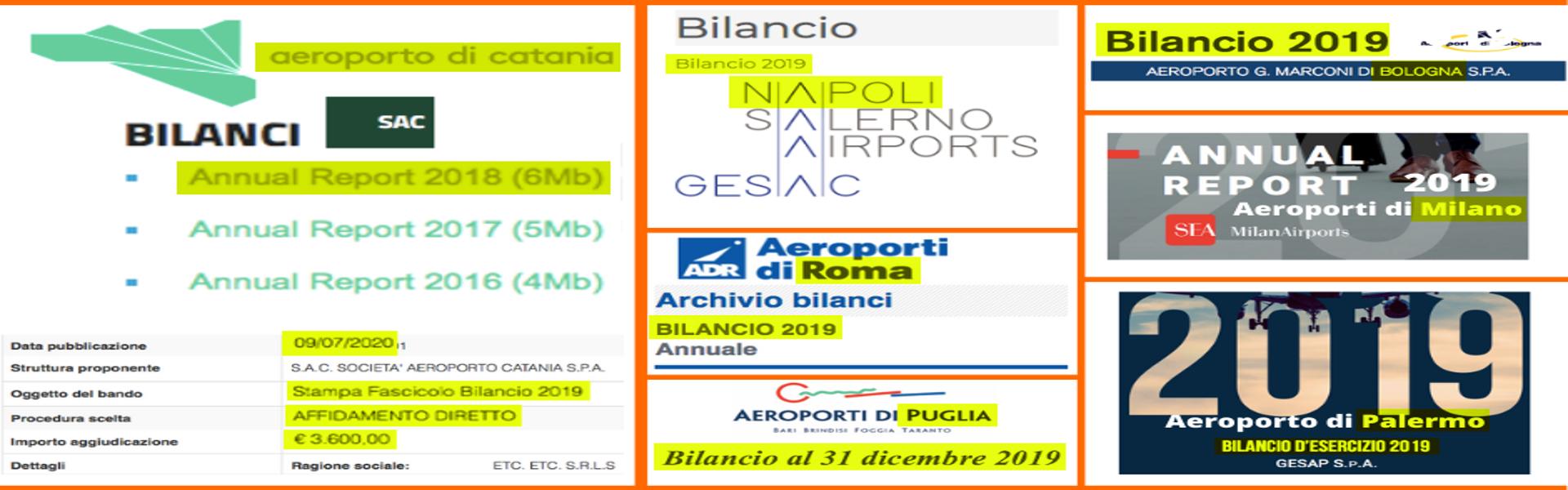 Tutti gli aeroporti d'Italia hanno pubblicato il bilancio 2019 tranne SAC, quello di Catania...che però ha speso 3.600 euro...per stamparlo
